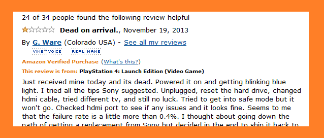 amazon review of ps4